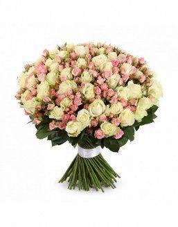 Mix bouquet of 25 white/pink spray roses | Flowers to women