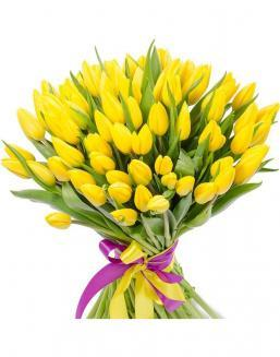Bouquet 101 yellow tulips | Flowers to women